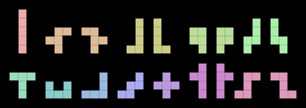 Все 18 элементов «Пентамино» Соломона Голомба.