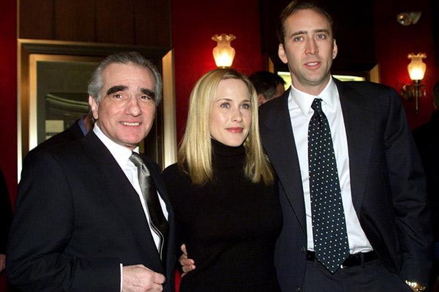 Николас Кейдж, Патрисия Аркетт и Мартин Скорсезе на премьере драмы «Воскрешения мертвецов».