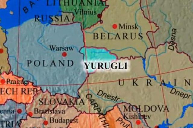 Несуществующее государство Юрагли соседствует с Беларусью, Украиной и Польшей.
