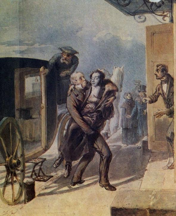 Никита Козлов несет Пушкина. Борель П.Ф. «Возвращение Пушкина с дуэли» 1885 г.